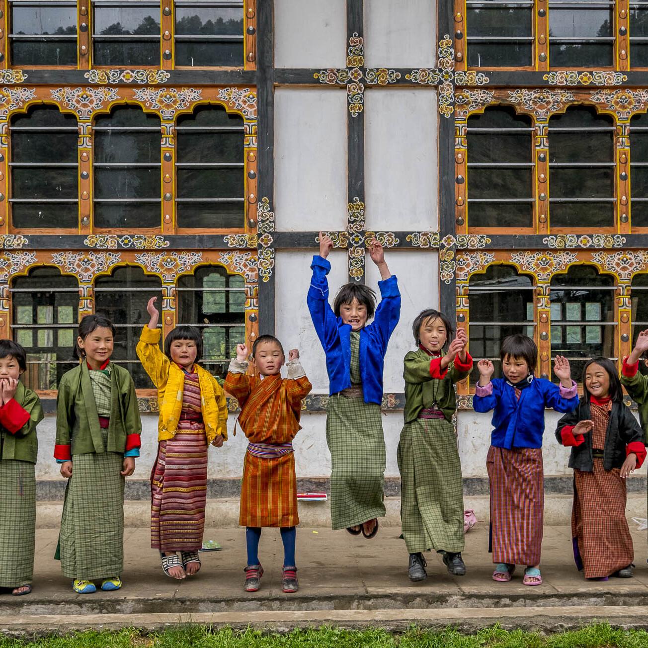 Children in Bhutan playing and having fun