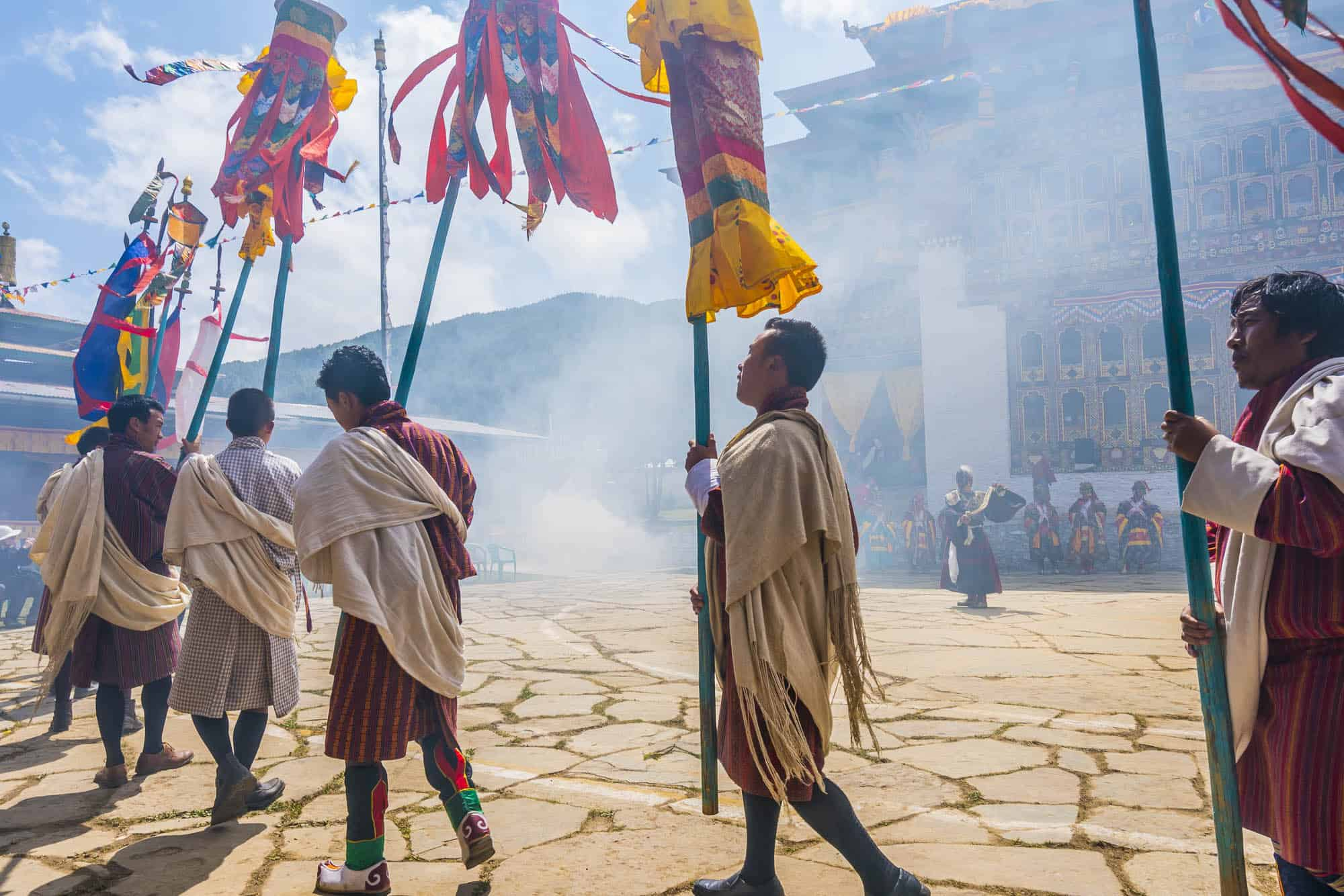 Dancing and chanting at a festival in Bhutan