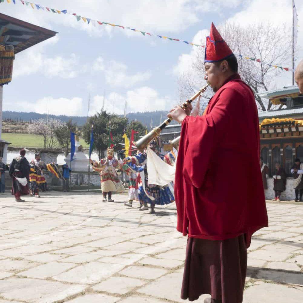 Bhutanese festival with horn