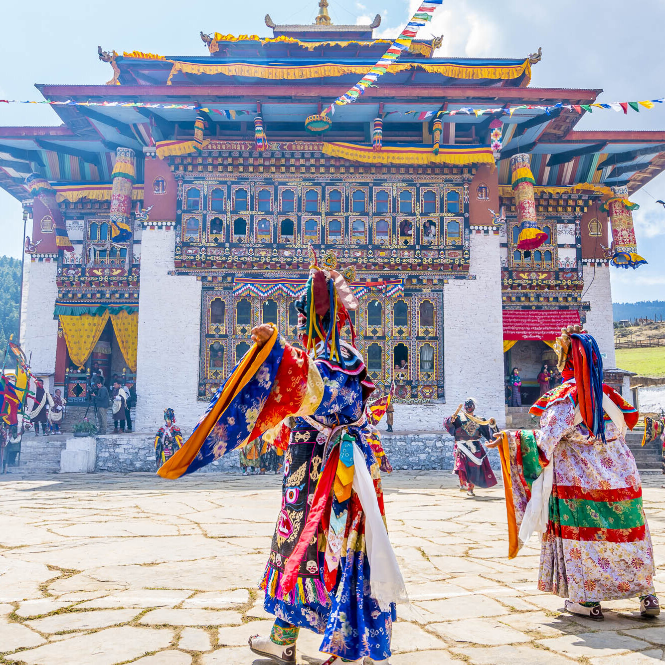 Colorful Bhutan festival with dragon masks