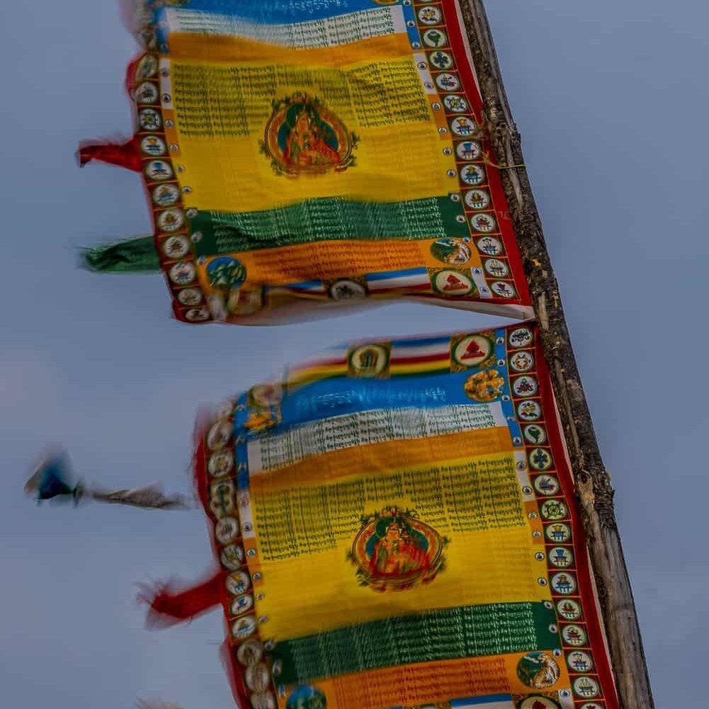 Buddhist prayer flags flying high in Bhutan
