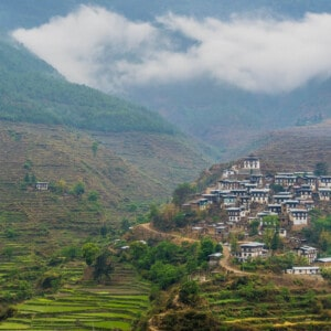 Housing on the terraces of hills on Bhutan