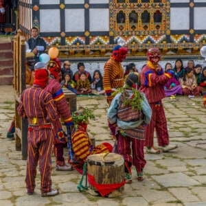 Tsechu (festival) in Bhutan with drums and masks