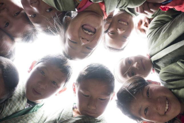 Bhutanese children laughing and having fun