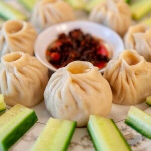 a popular Bhutanese dumpling, momos